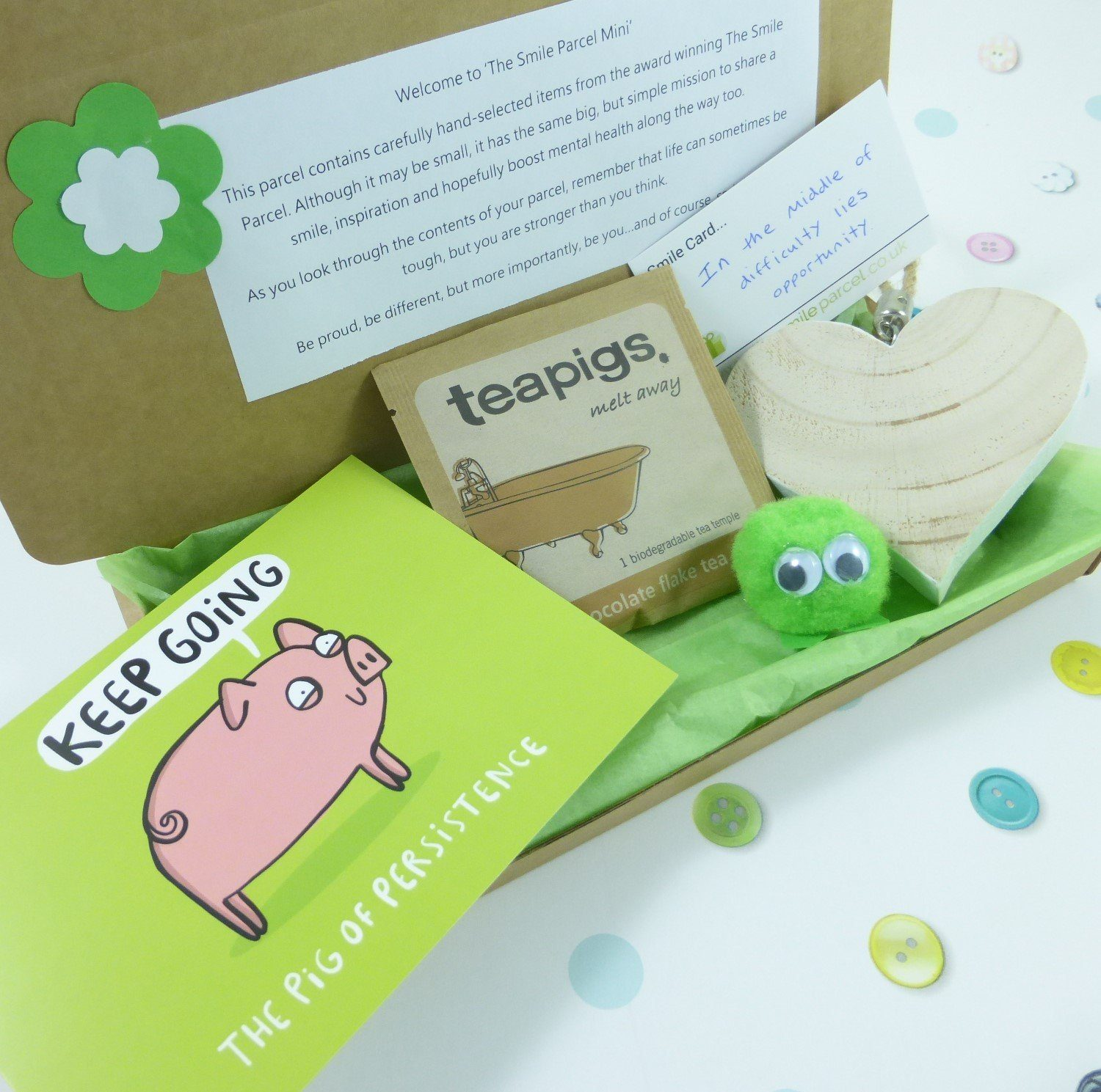 Green Letterbox Friendly, Pick Me Up Gift, The Smile Parcel Mini, Mental Health Gift, Wellbeing Box, Self Care Parcel, Happy Post Kind Shop
