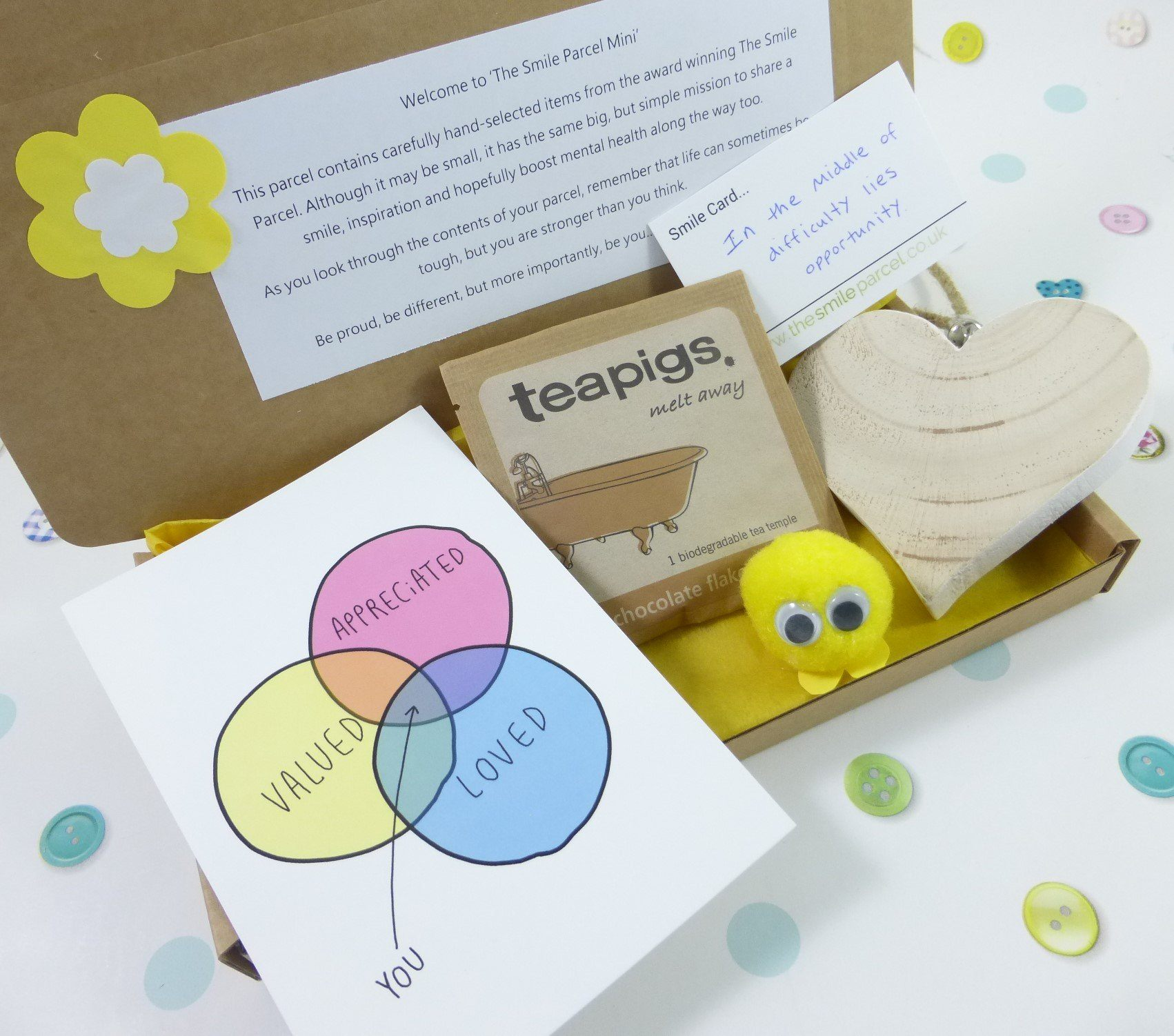 Yellow Letterbox Friendly, Pick Me Up Gift, The Smile Parcel Mini, Self Care Box, Mental Health Gift, Wellbeing Box, Happy Mail Kind Shop