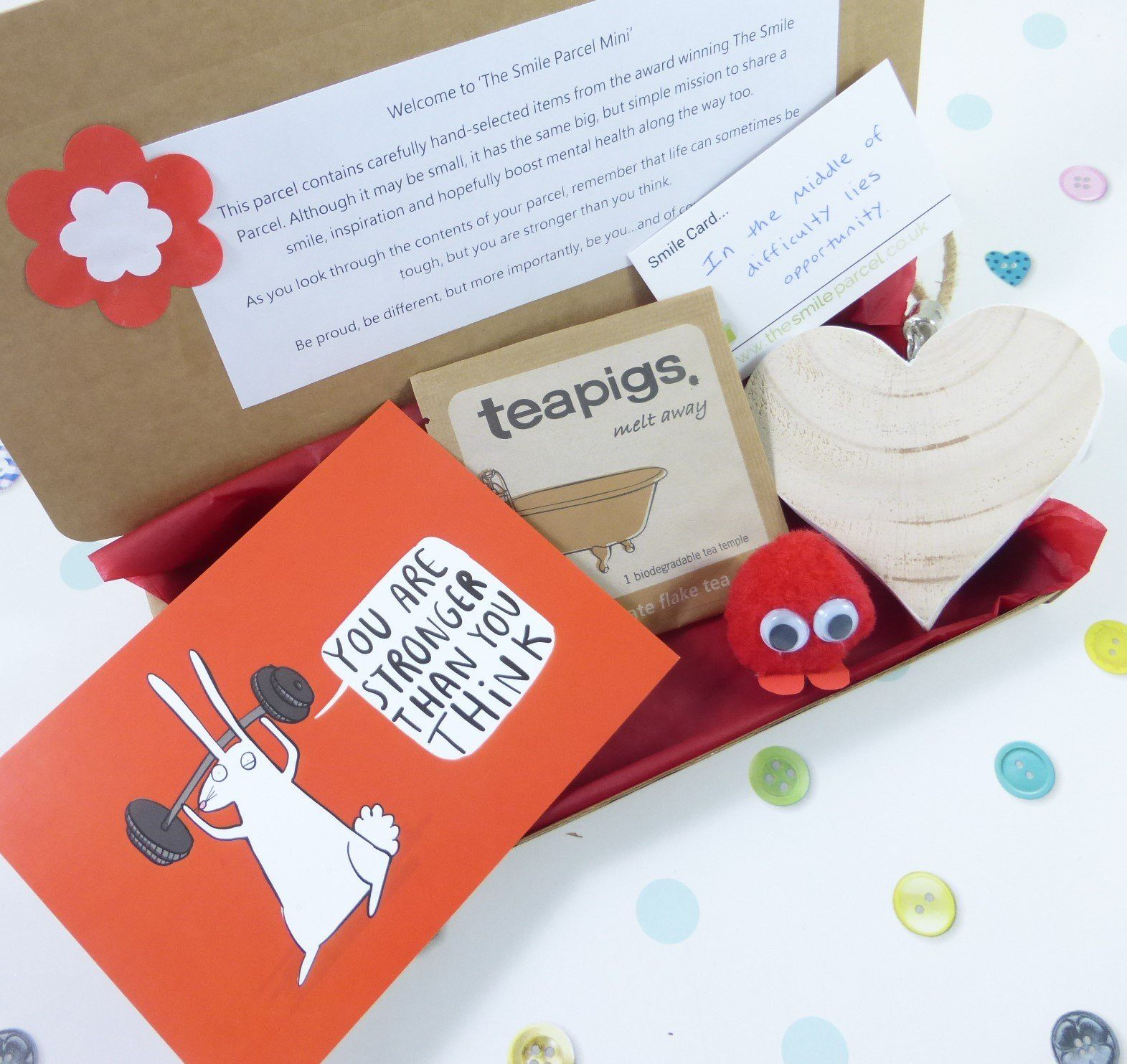 Red Letterbox Friendly, Pick Me Up Gift, The Smile Parcel Mini, Self Care Box, Mental Health Gift, Wellbeing Box Kind Shop