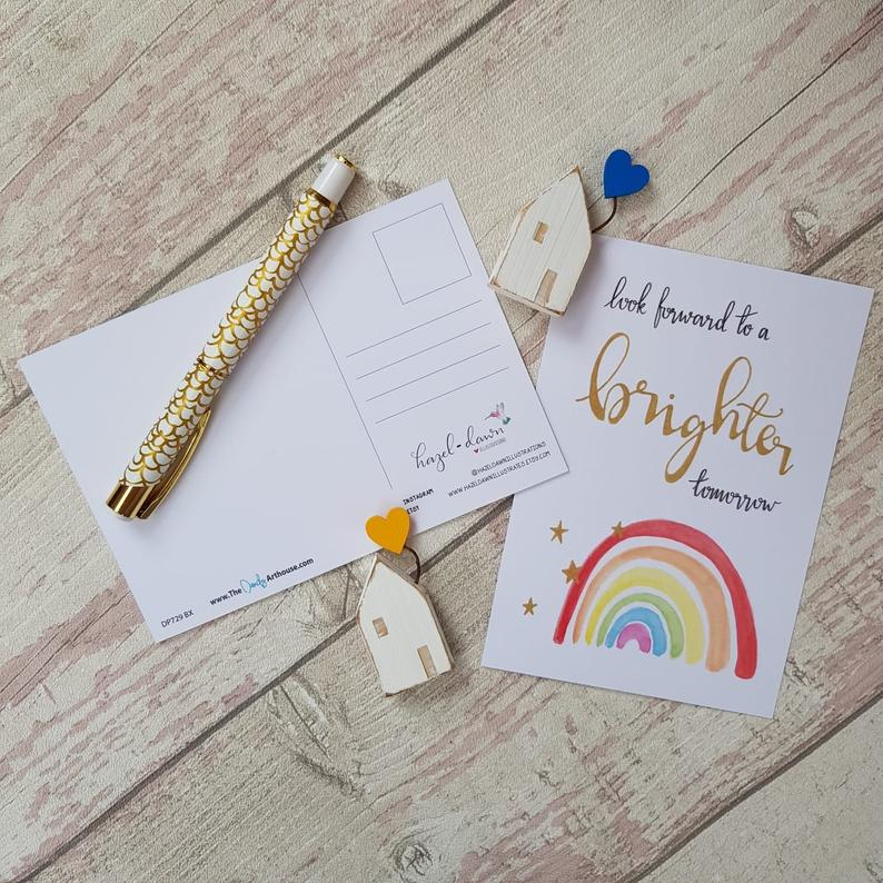Positive Postcards Set, Rainbow Inspirational Quotes brighter tomorrow