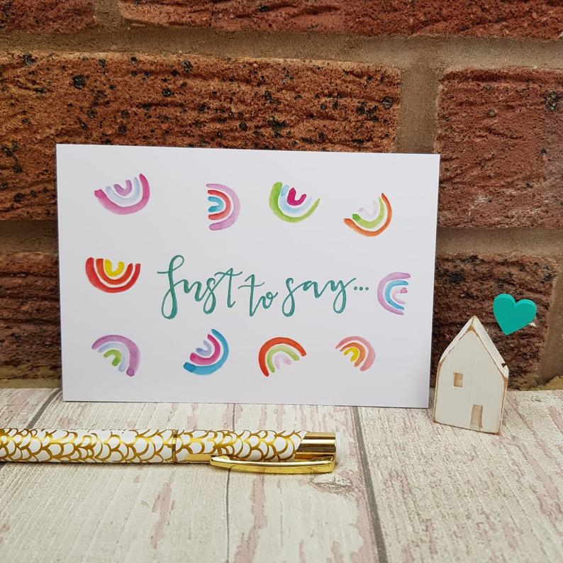 Positive Postcards Set, Rainbow Inspirational Quotes just to say