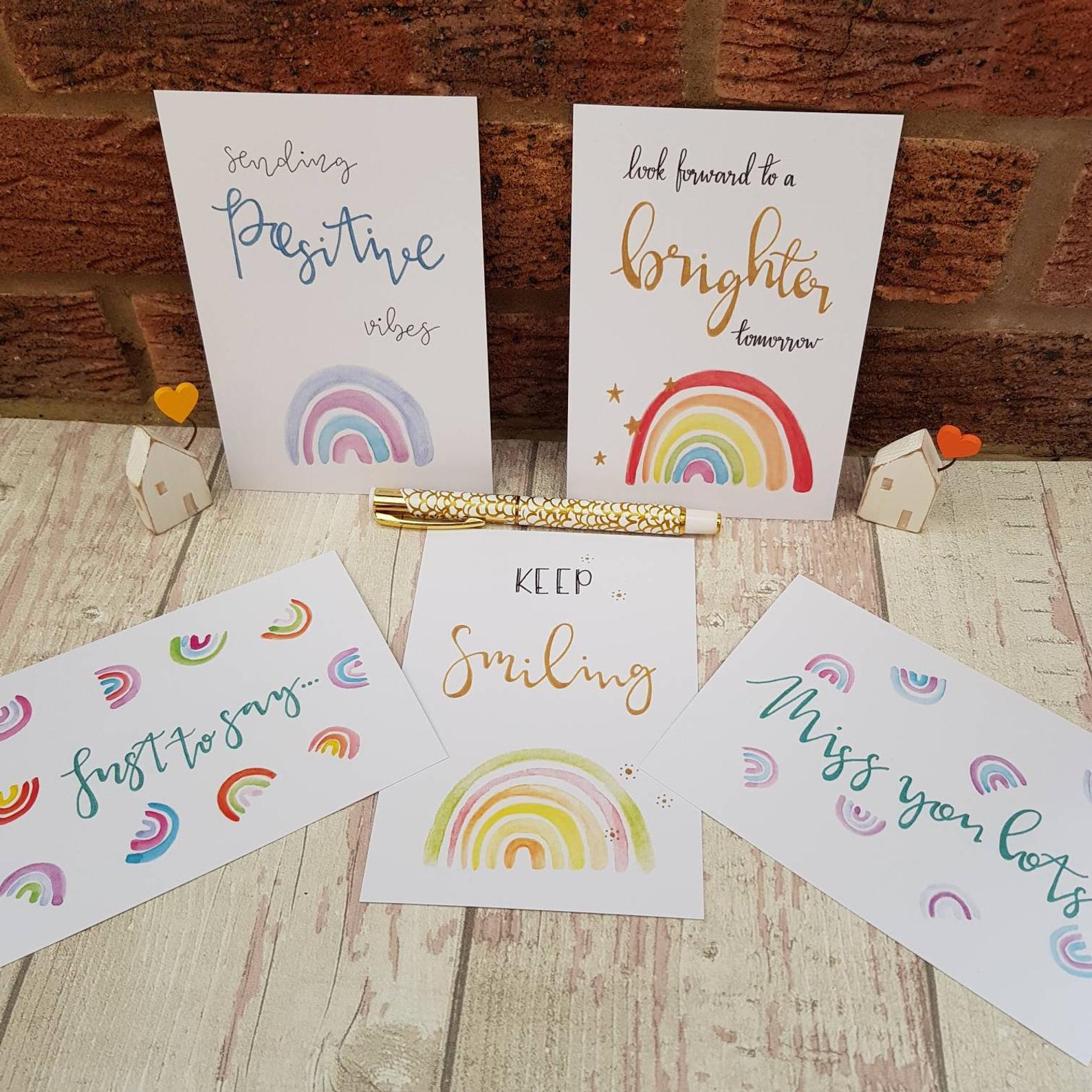 Positive Postcards Set, Rainbow Inspirational Quotes