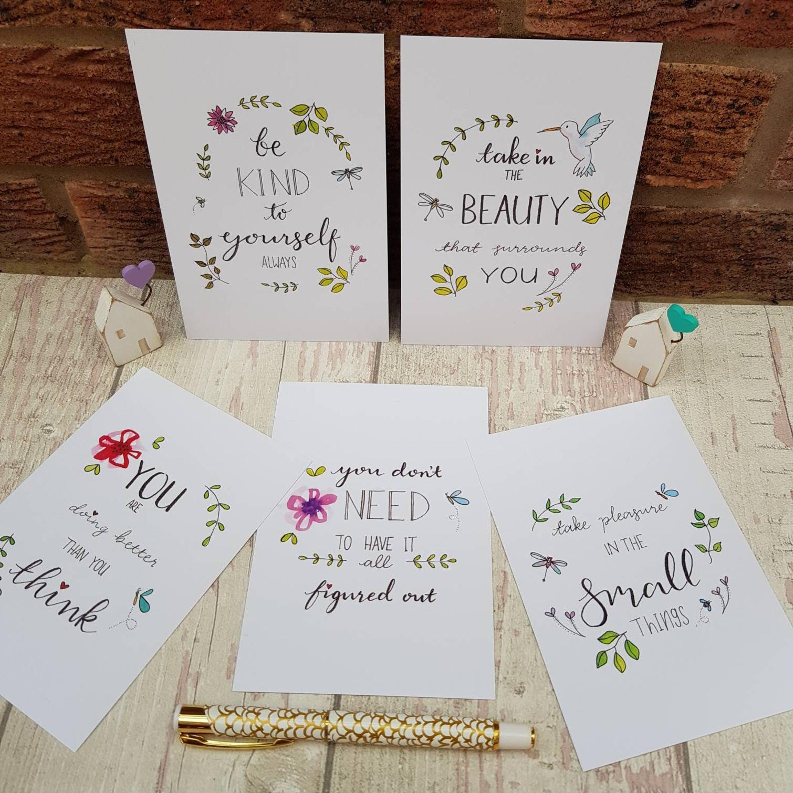 Positive Postcards Set, Simple Pleasures Inspirational Quotes