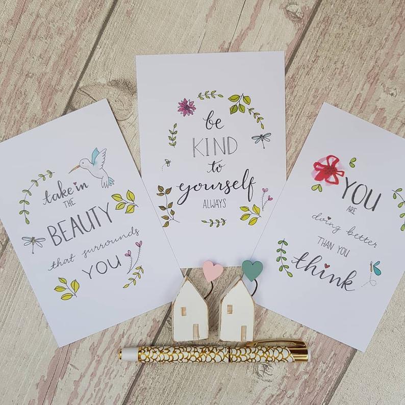 Positive Postcards Set, Simple Pleasures Inspirational Quotes for Self Care & Motivation Kind Shop 2