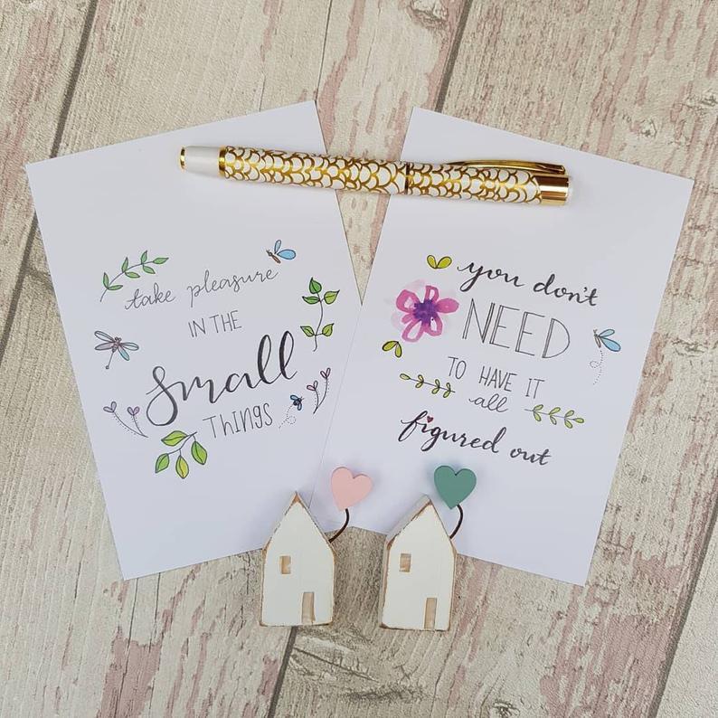 Positive Postcards Set, Simple Pleasures Inspirational Quotes for Self Care & Motivation Kind Shop 7