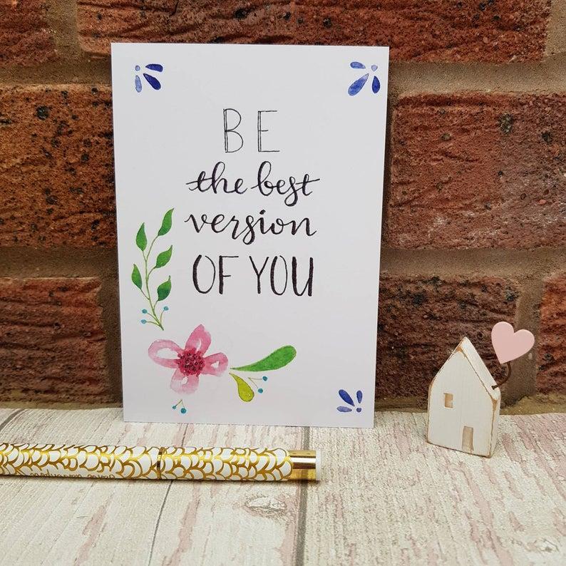 Positivity Postcards Set, Floral Prints Inspirational Quotes for Self Care & Motivation Kind Shop 3
