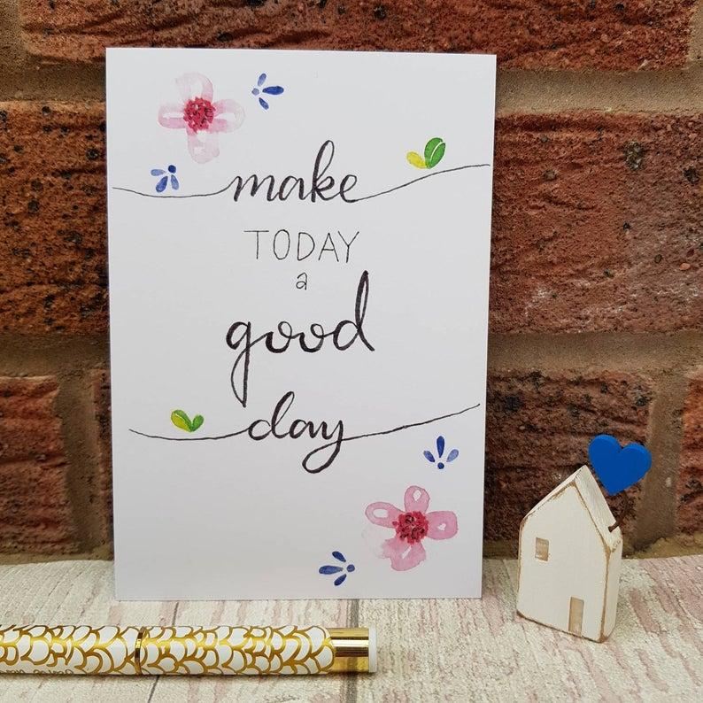 Positivity Postcards Set make today a good day quote