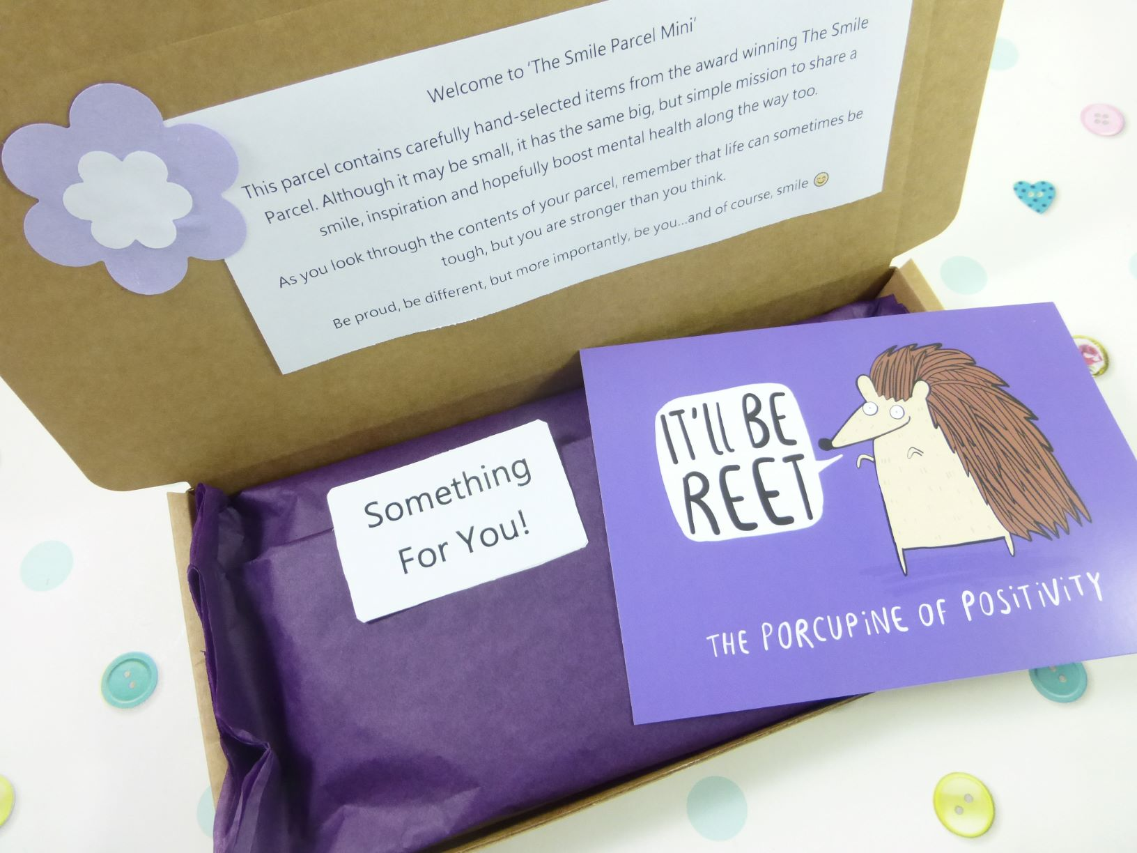 Purple Letterbox Friendly, Pick Me Up Gift, The Smile Parcel Mini, Happy Mail, Mental Health Box, Self Care Gift Box Kind Shop 2