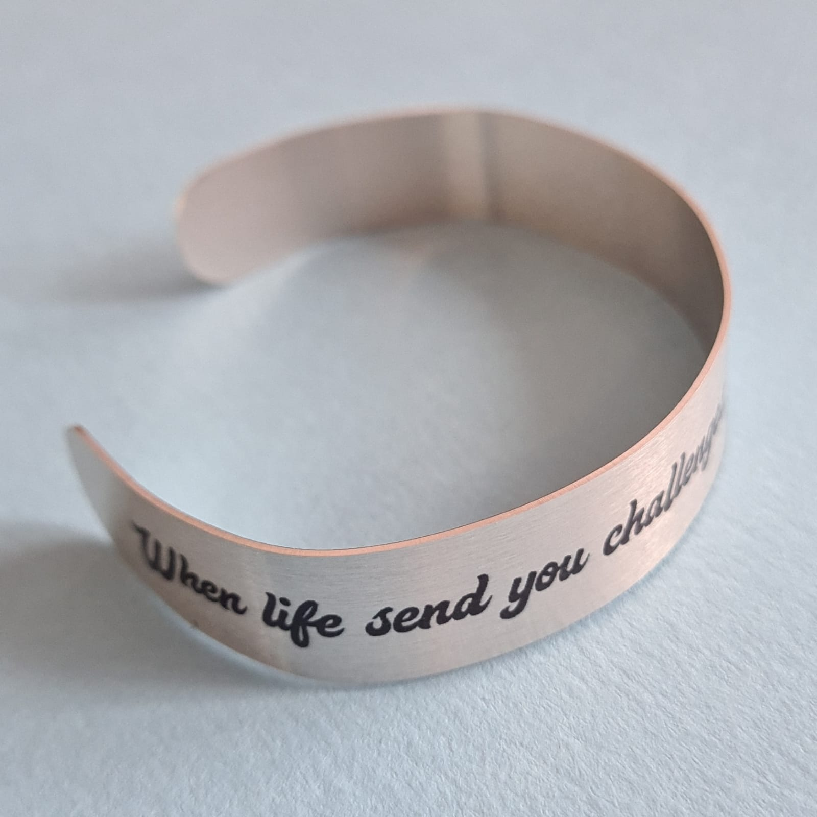 """Quote Bracelet """"I will always be your cheerleader"""" Mantra Band Bangle Cuff"""