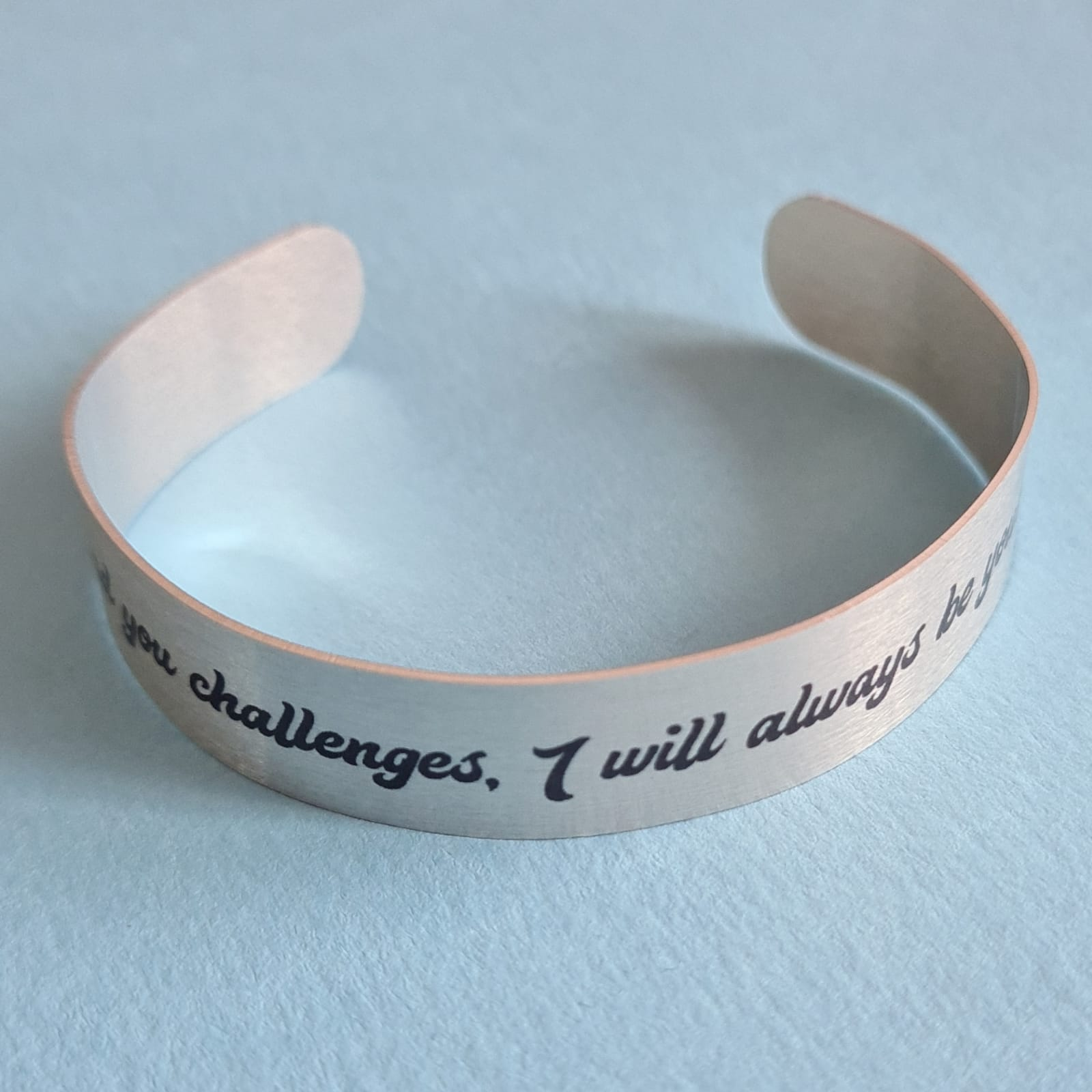 """Quote Bracelet """"I will always be your cheerleader"""" Mantra Band Bangle front"""