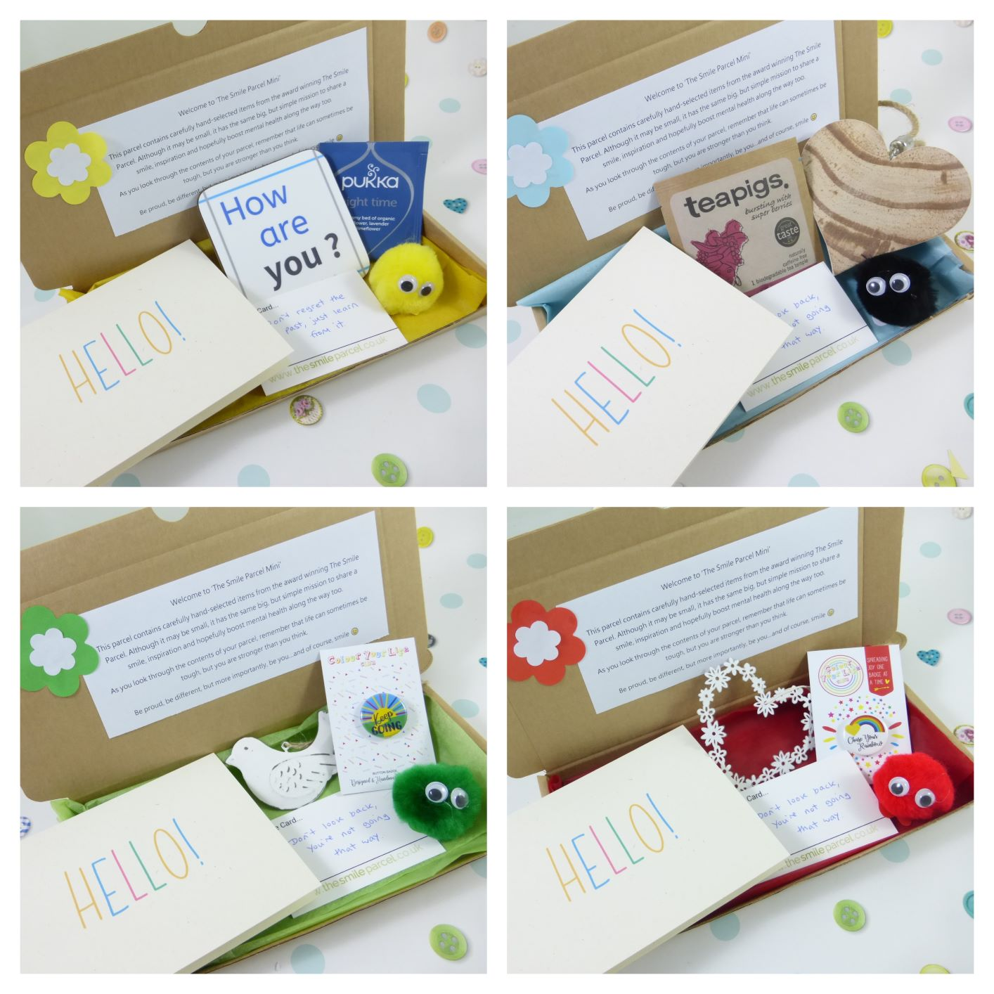 Hello, Letterbox Friendly, Pick Me Up Gift, The Smile Parcel Mini, Get Well Soon, Well Done, Self Care Box, Mental Health Gift Kind Shop 3