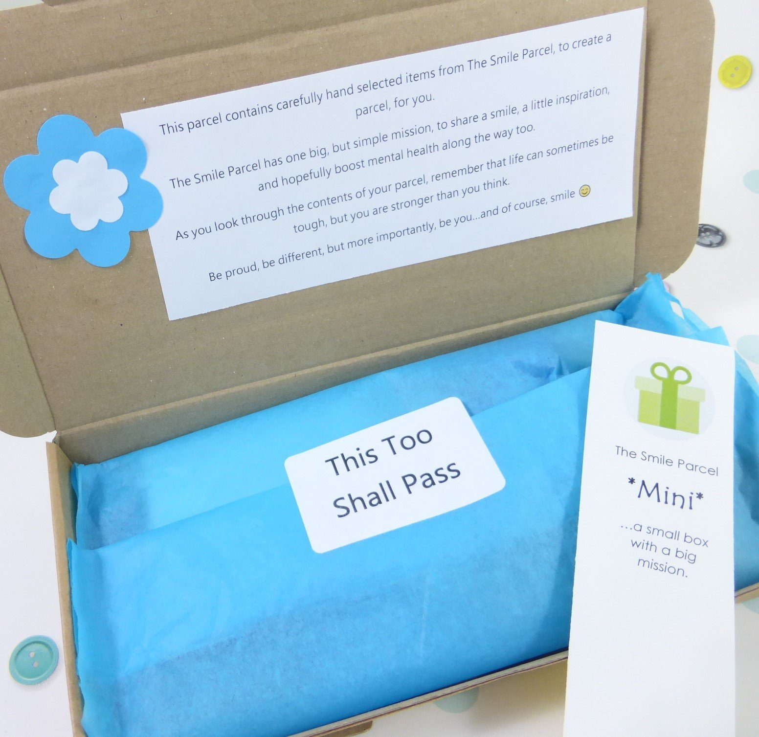 Letterbox Friendly, Pick Me Up Gift, The Smile Parcel Mini, Happy Post, Mental Health Gift, Anxiety Box Kind Shop 3