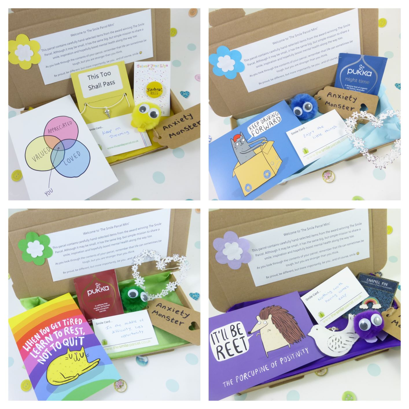 Letterbox Friendly, Pick Me Up Gift, The Smile Parcel Mini, Happy Post, Mental Health Gift, Anxiety Box Kind Shop