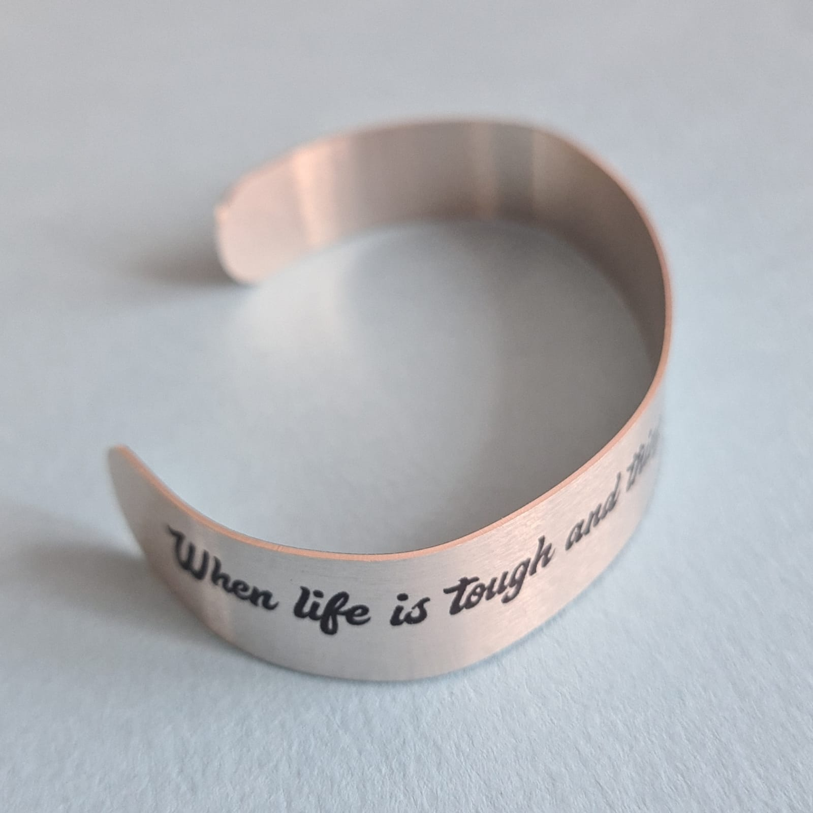 When life is tough and things get rough, I'll be there to hold your hand quote bracelet bangle side