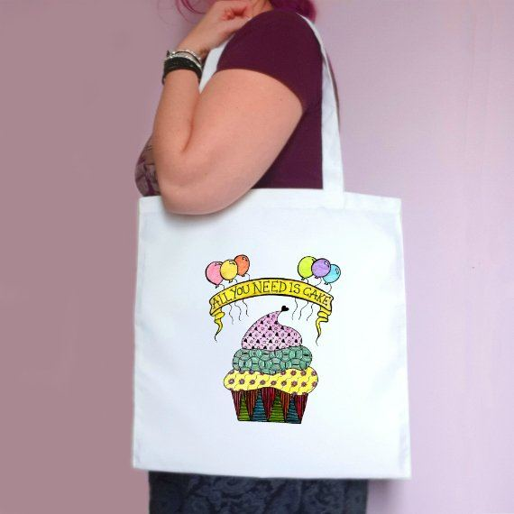Eco-Friendly Reusable Fabric Tote Bag – All You Need Is Cake Artwork Kind Shop