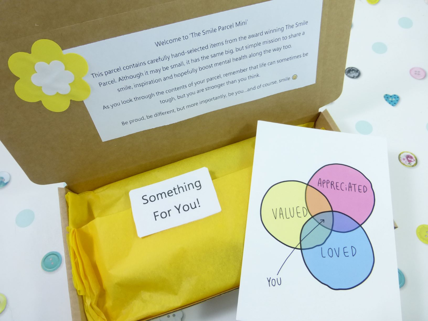 Yellow Letterbox Friendly, Pick Me Up Gift, The Smile Parcel Mini, Self Care Box, Mental Health Gift, Wellbeing Box, Happy Mail Kind Shop 2