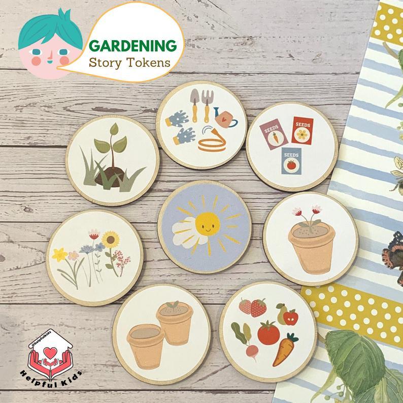 eco friendly game story tokens child storytelling gardening