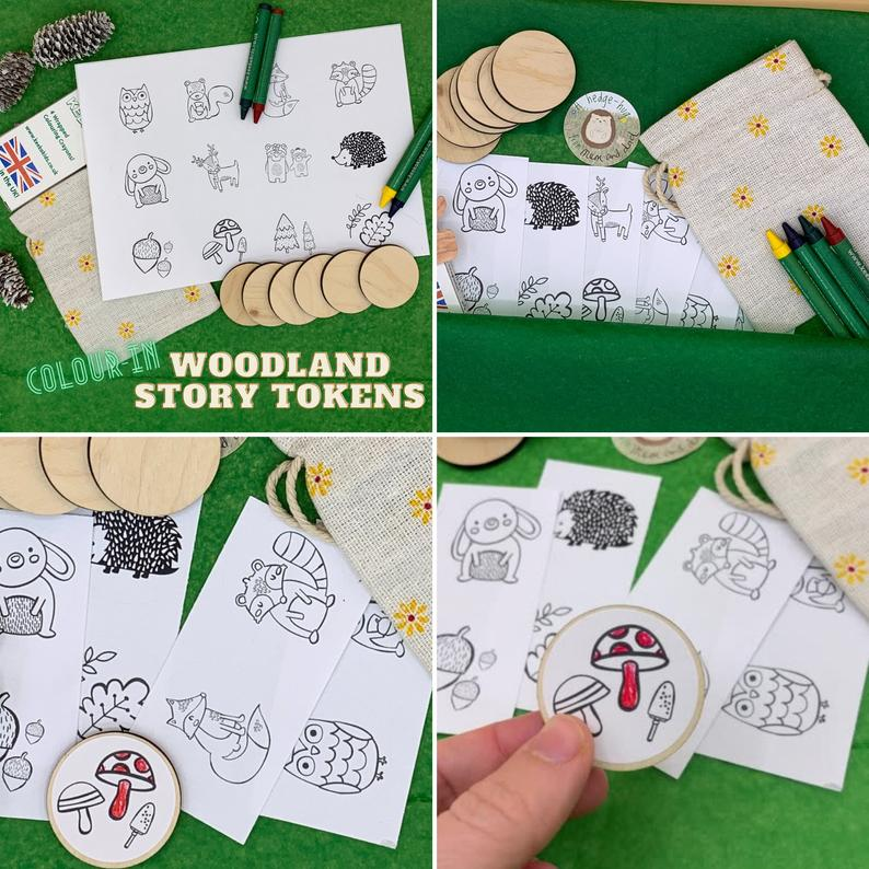 eco story tokens child storytelling game nature collage