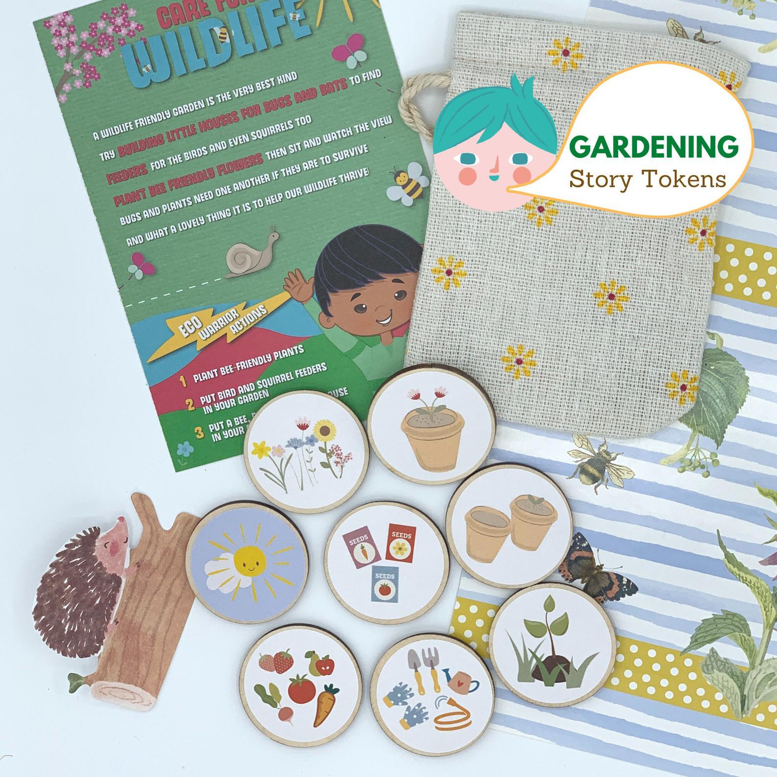 eco story tokens child storytelling gardening