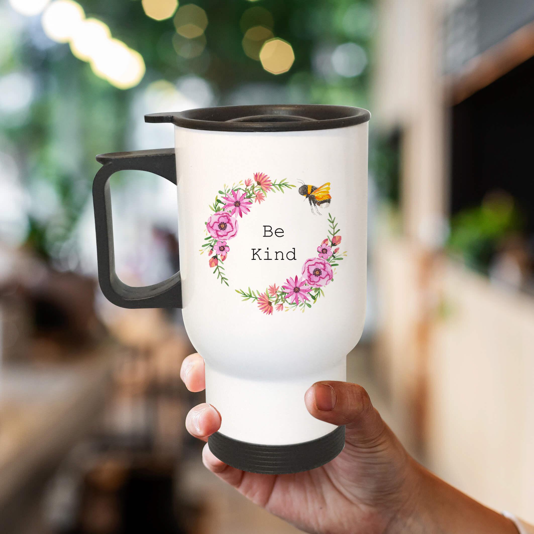 pretty travel mug bee be kind flower floral