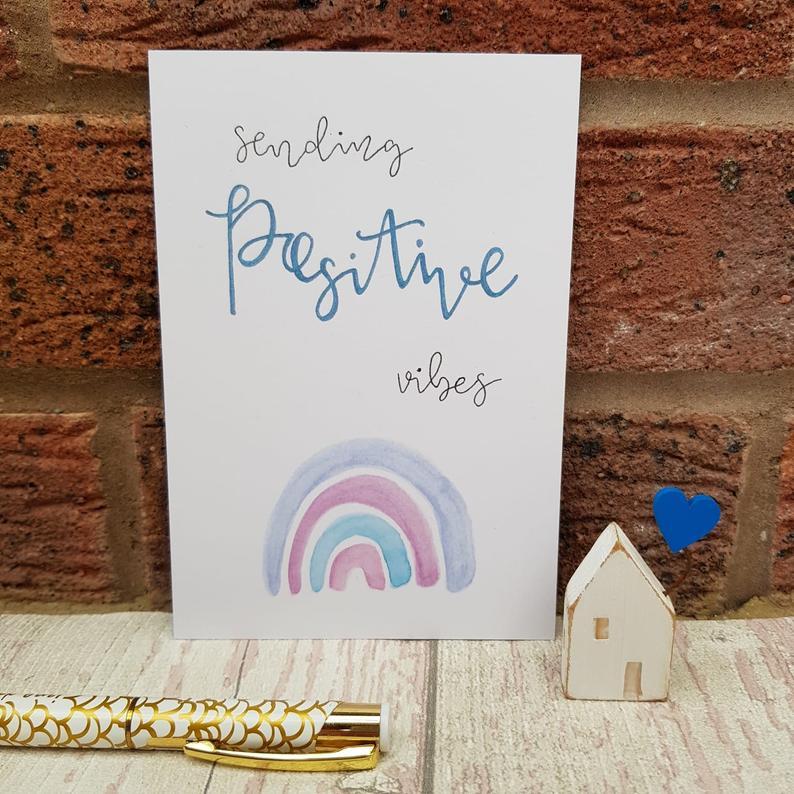 sending positive vibes postcard
