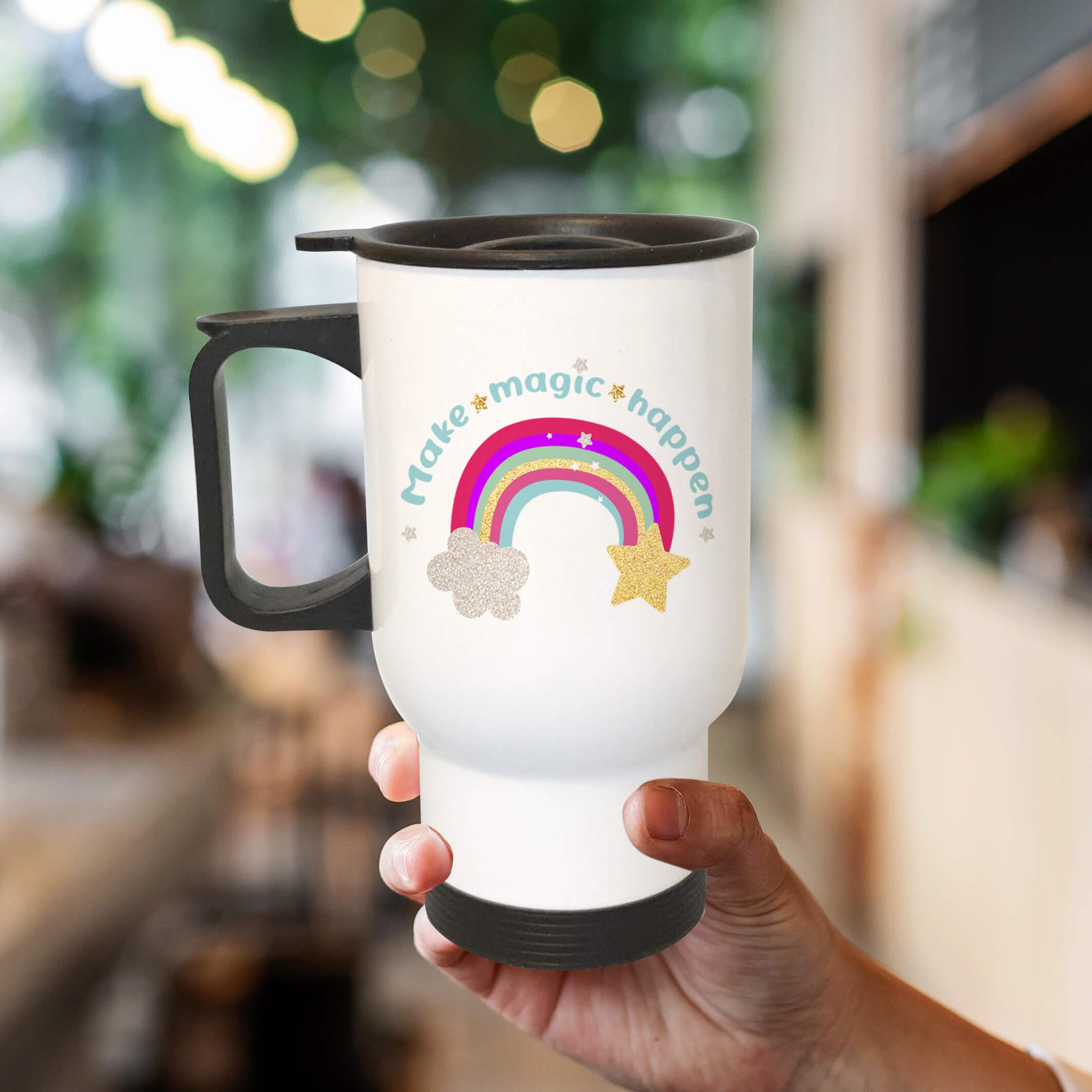 travel mug make magic happen rainbow cup