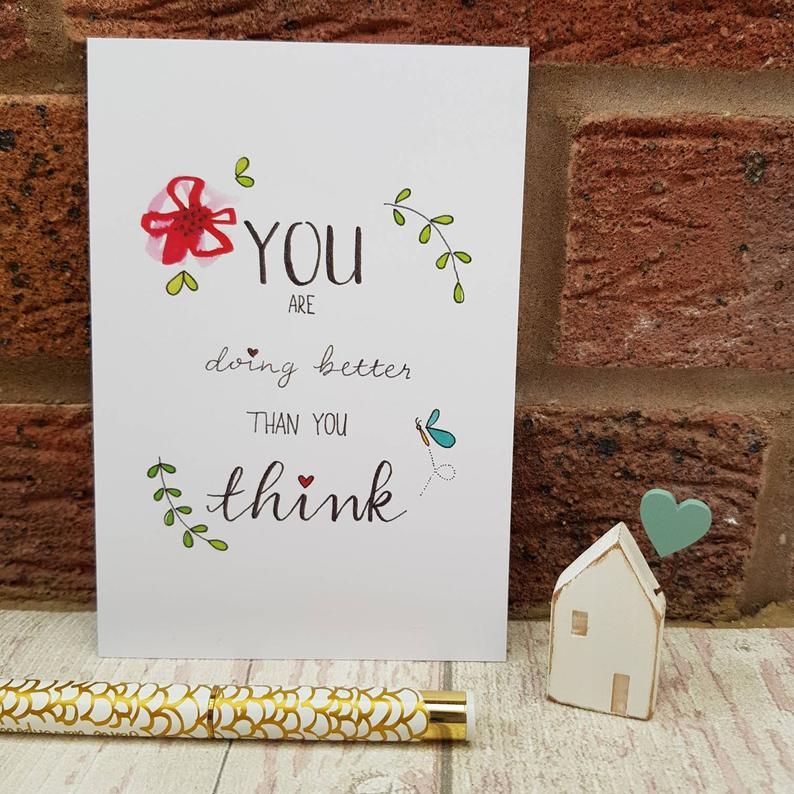 Positive Postcards Set, Simple Pleasures Inspirational Quotes for Self Care & Motivation Kind Shop 3