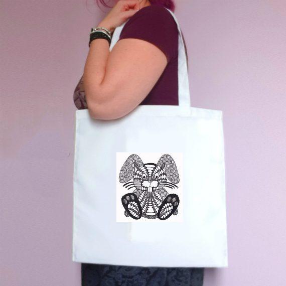 Eco-Friendly Reusable Fabric Tote Bag – Doodle Bunny Rabbit Artwork Kind Shop