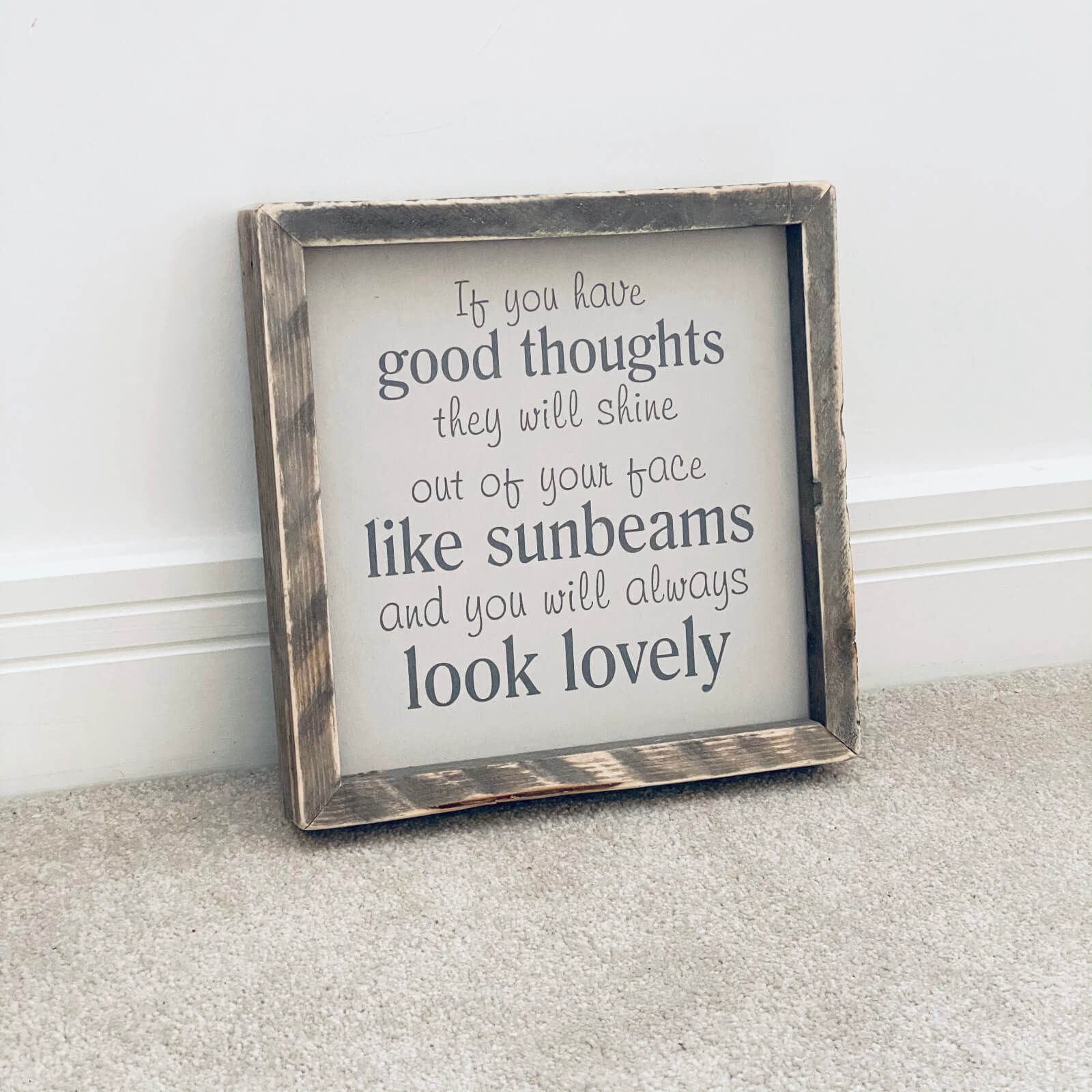 If you have good thoughts – Framed Wooden Sign Kind Shop