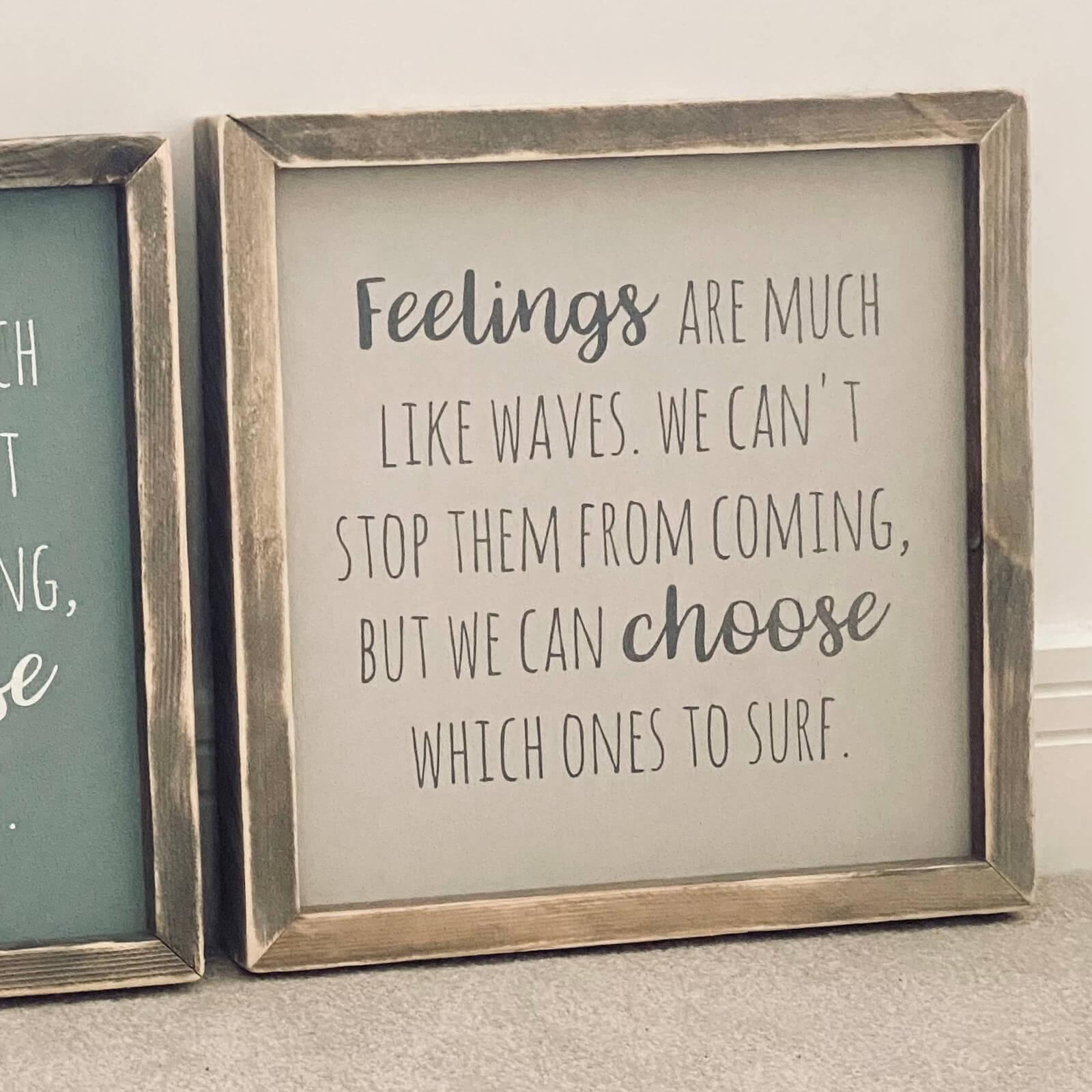 Feelings – Framed Wooden Sign Kind Shop 3