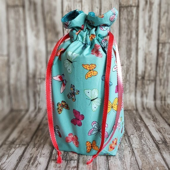 Handmade Butterfly Eco-Friendly Reusable Drawstring Gift / Storage Bag Kind Shop