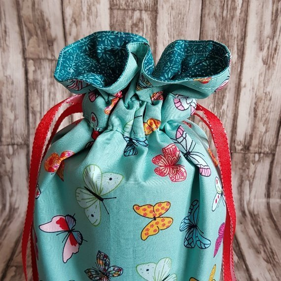 Handmade Butterfly Eco-Friendly Reusable Drawstring Gift / Storage Bag Kind Shop 4