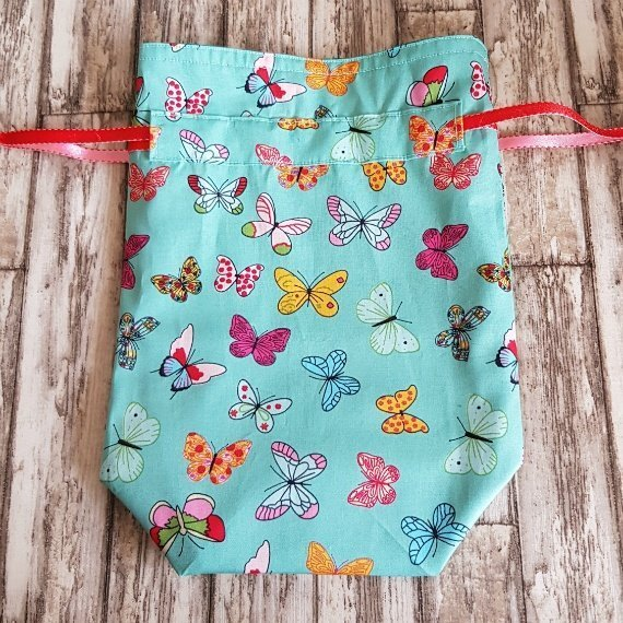 Handmade Butterfly Eco-Friendly Reusable Drawstring Gift / Storage Bag Kind Shop 5