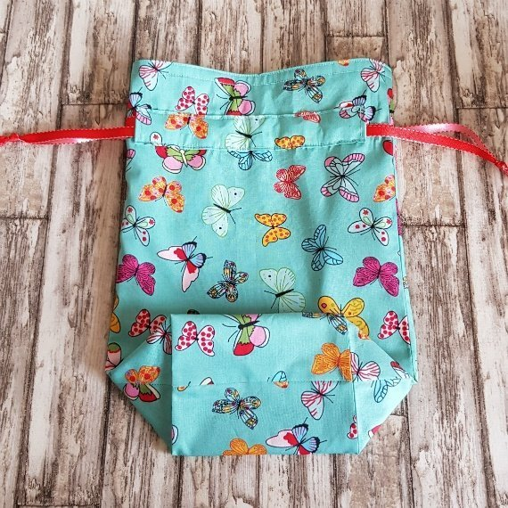 Handmade Butterfly Eco-Friendly Reusable Drawstring Gift / Storage Bag Kind Shop 6