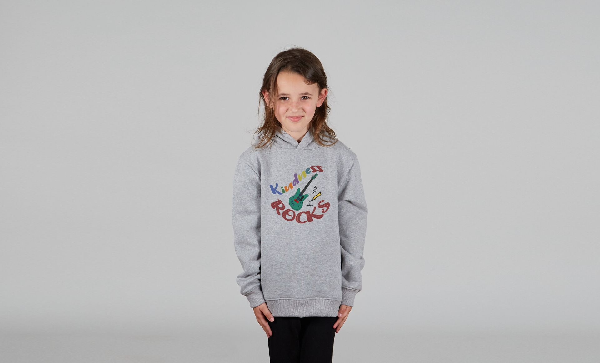 Kindness ROCKS Kids Pullover Hoodie Light Heather Grey Girl Model