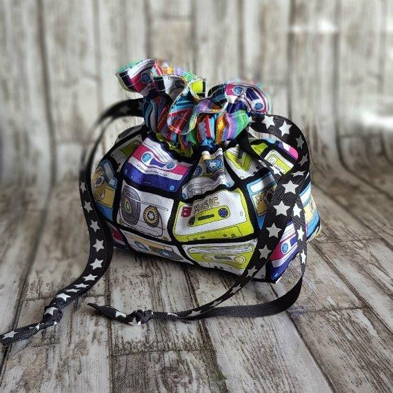 Music Cassettes Eco-Friendly Reusable Drawstring Gift Bag Or Storage Bag Kind Shop