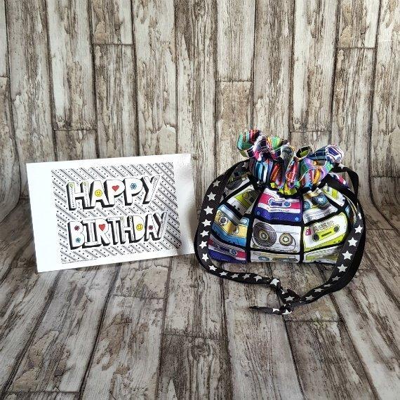 Music Cassettes Eco-Friendly Reusable Drawstring Gift Bag Or Storage Bag Kind Shop 2