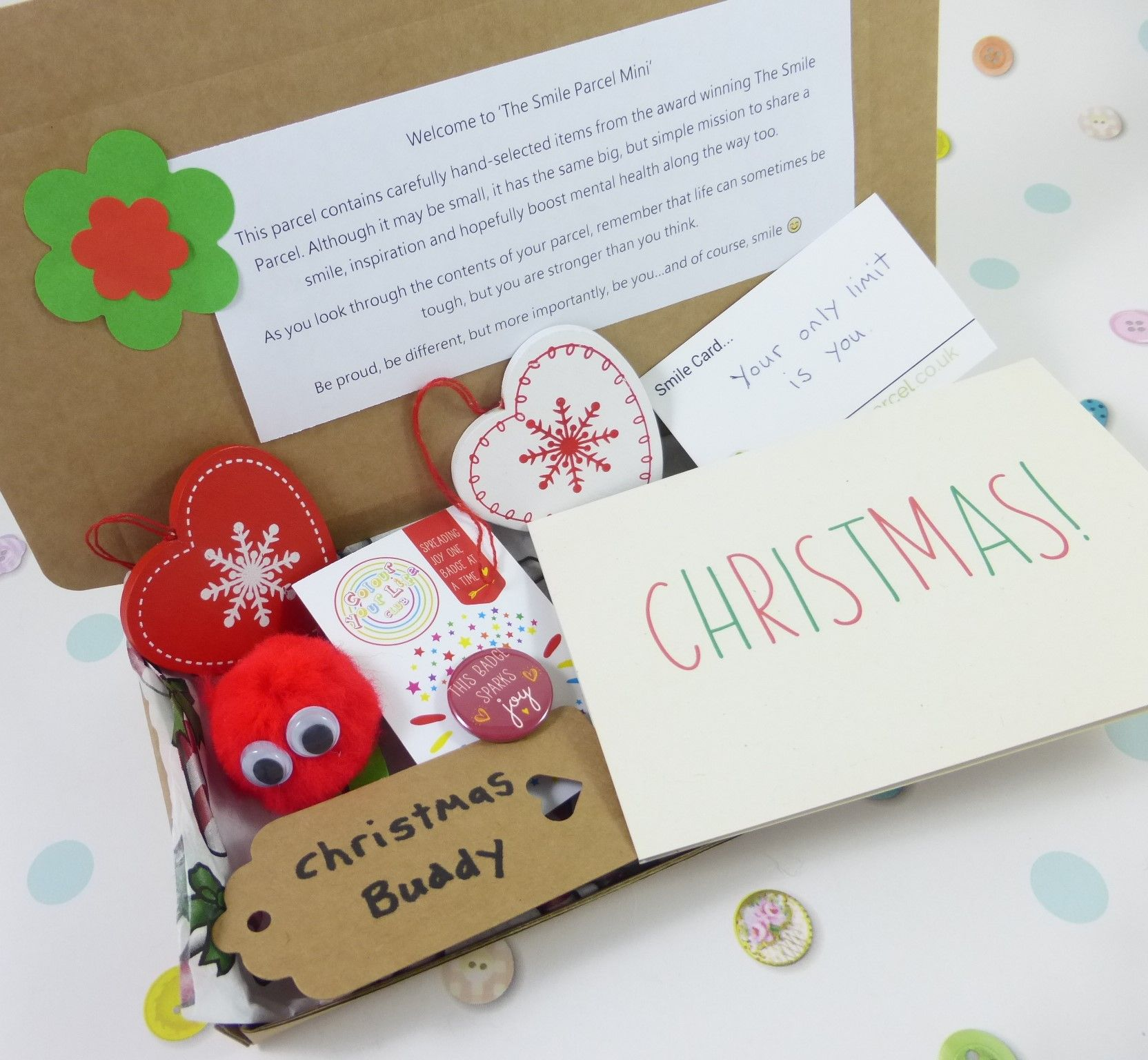 Christmas Hearts, Letterbox Friendly, Pick Me Up Gift – The Smile Parcel Mini Kind Shop