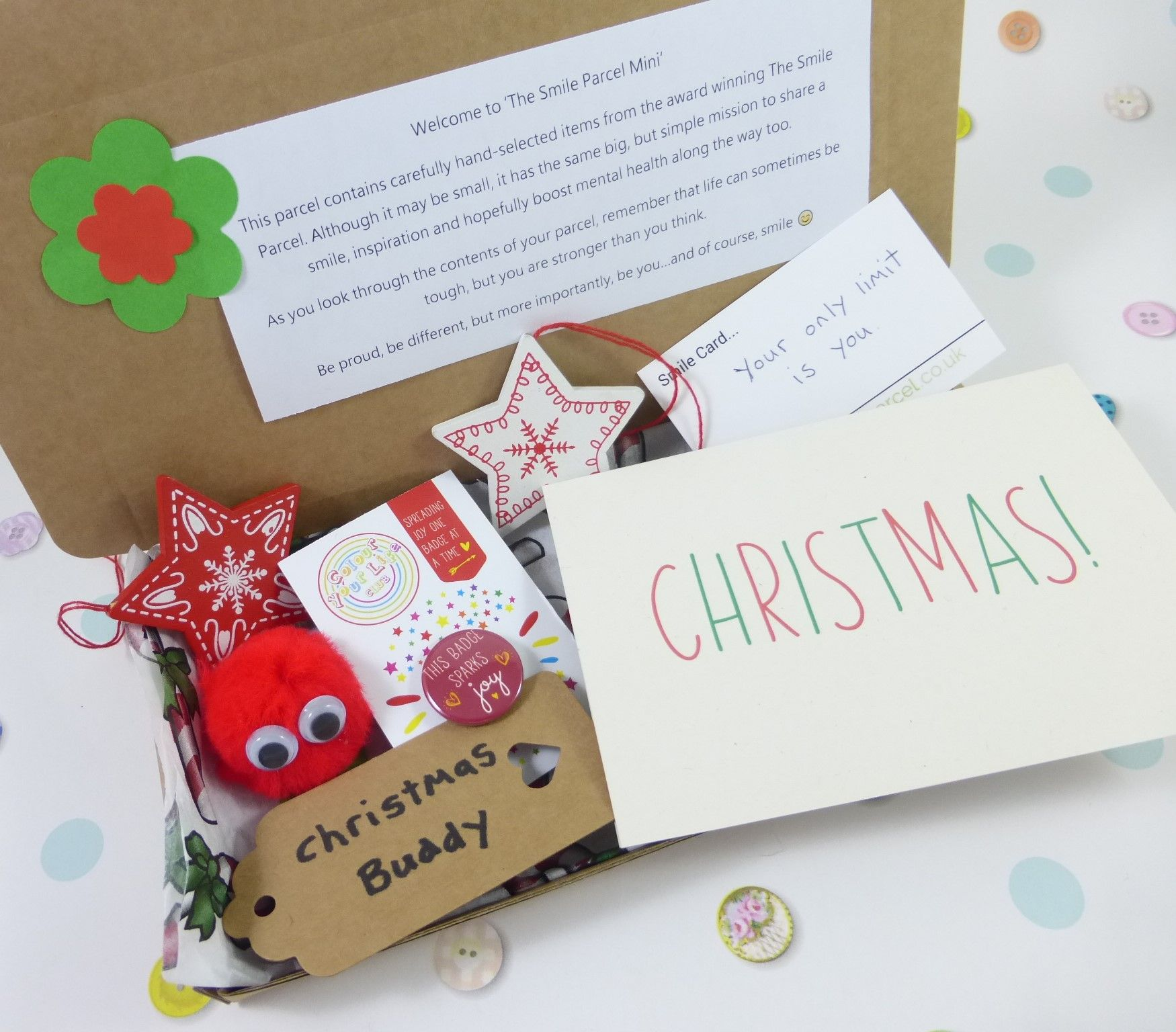 Christmas Stars, Letterbox Friendly, Pick Me Up Gift – The Smile Parcel Mini Kind Shop
