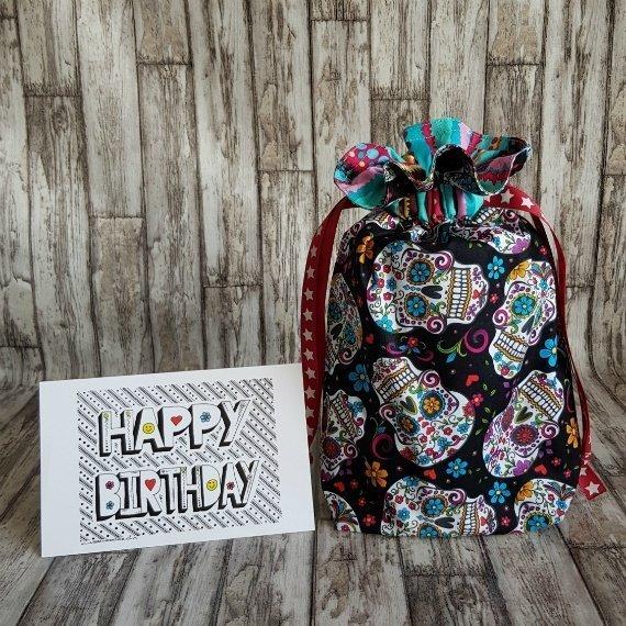 Sugar Skull Eco-Friendly Reusable Drawstring Gift Bag Or Storage Bag Kind Shop 2