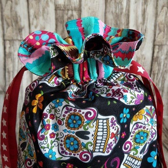 Sugar Skull Eco-Friendly Reusable Drawstring Gift Bag Or Storage Bag Kind Shop 7
