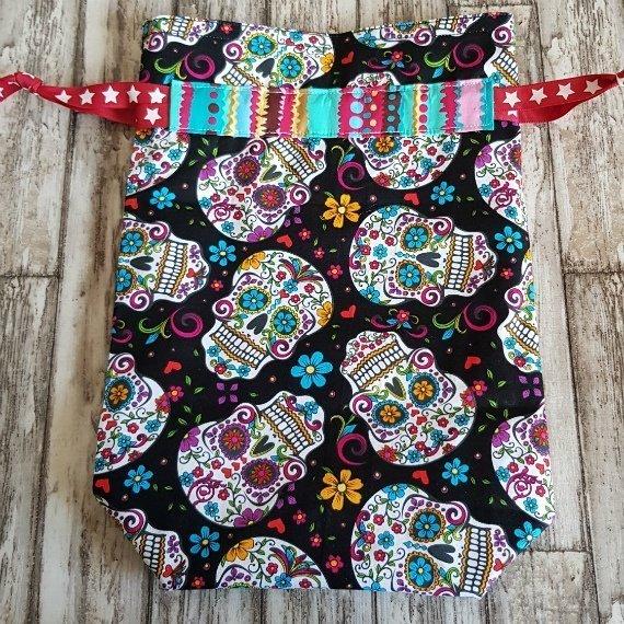 Sugar Skull Eco-Friendly Reusable Drawstring Gift Bag Or Storage Bag Kind Shop 5