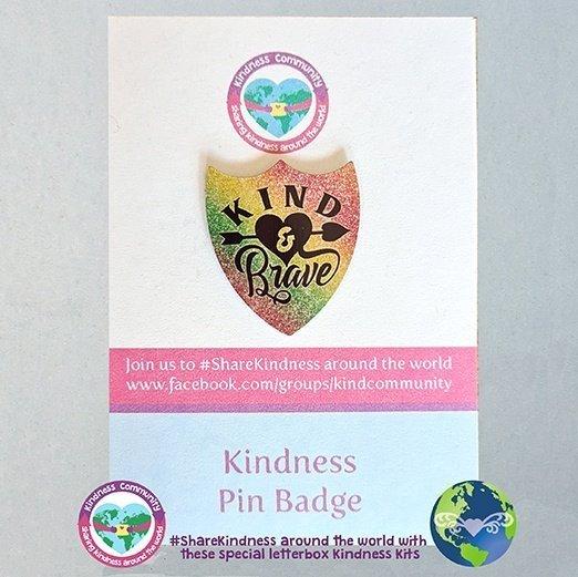 kind and brave shield pin badge kindpreneurs