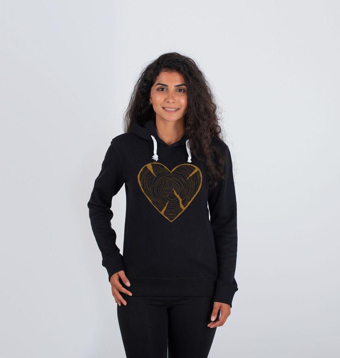 Women's Nature Heart Hoodie - Black