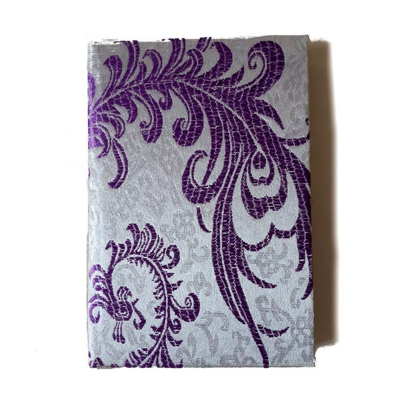 A5 purple silk notebook close up