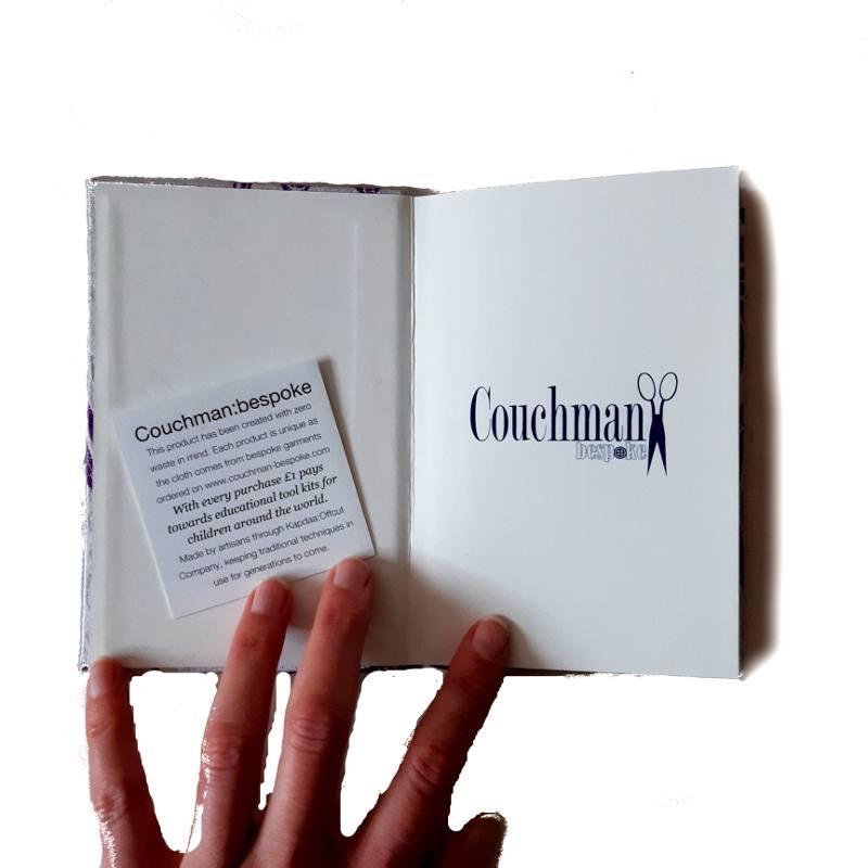 A5 purple silk notebook inside