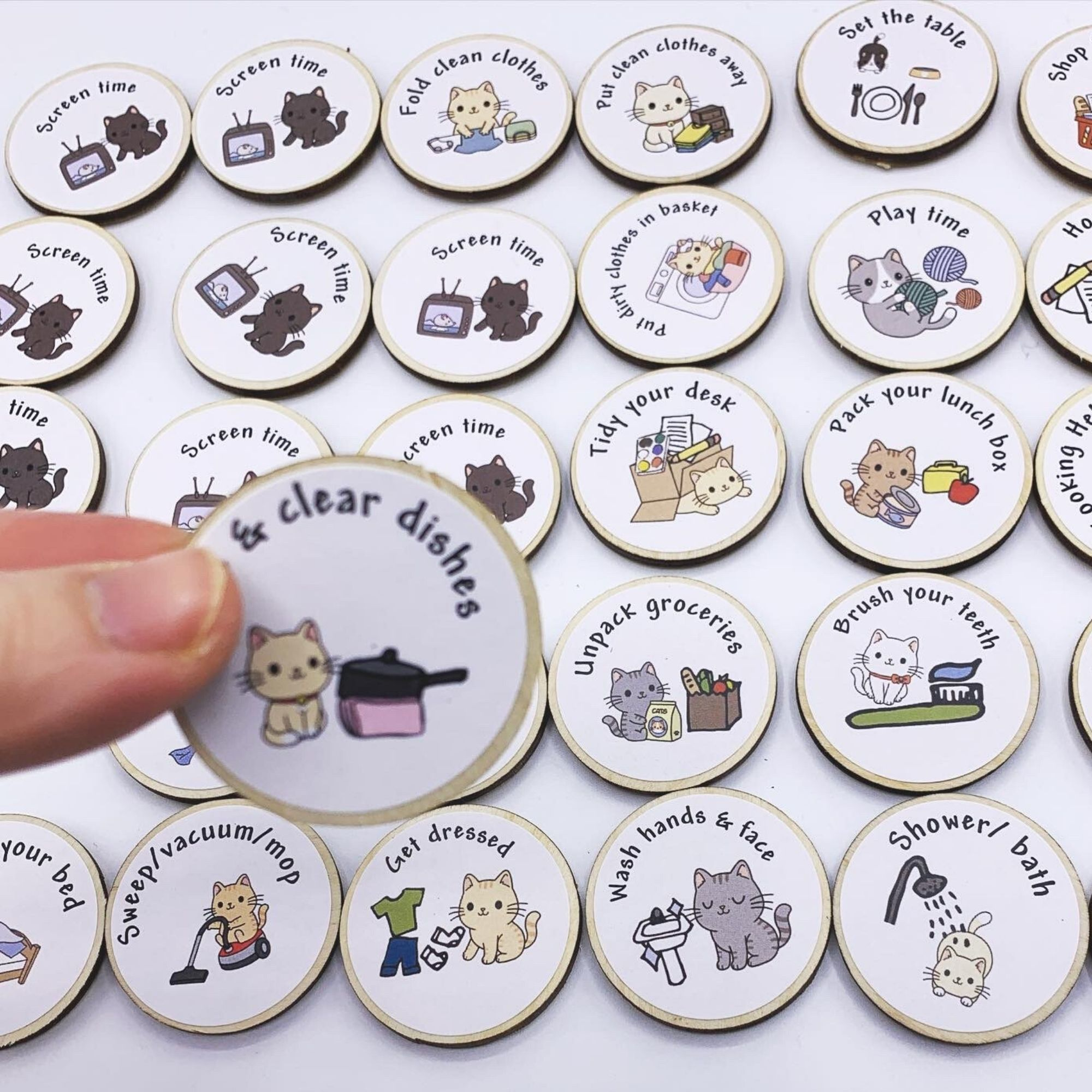 Eco Friendly Child Chore Tokens for Housework – Wooden Magnets To Encourage Routine Kind Shop