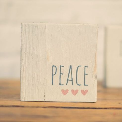Peace sign wooden reclaimed grey