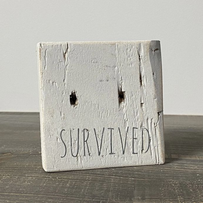 Survived sign wooden reclaimed