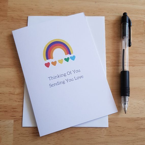 Cute Thinking of your card heart rainbow